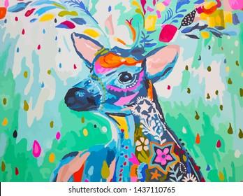 Whitetail deer Wildlife Painting Art