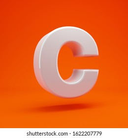 Whithe glossy 3d letter C uppercase on hot orange background. Best for anniversary, birthday party, celebration.
