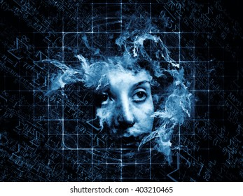 Who Are We series. Artistic background made of surreal human portrait, fractal and mathematical patterns for use with projects on philosophy, religion, math, science, technology and education