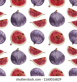 Whole and cut figs and leaf realistic watercolor seamless pattern on white background
