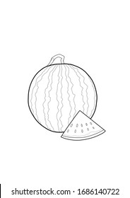 Whole watermelon and triangular shaped piece of watermelon drawing