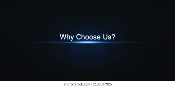 Why Choose Us on blue light background.
