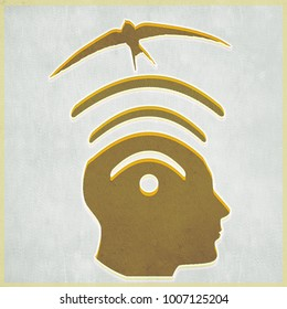 wi fi symbol with human head and flying bird