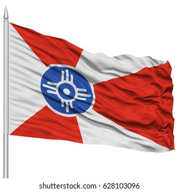 Wichita City Flag on Flagpole, Kansas State, Flying in the Wind, Isolated on White Background
