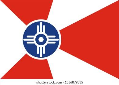 Wichita flag illustration isolated. Wichita city flag, Kansas.