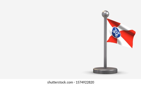 Wichita Kansas 3D waving flag illustration on a tiny metal flagpole. Isolated on white background with space on the left side.