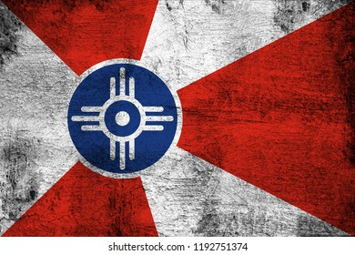 Wichita Kansas grunge and dirty flag illustration. Perfect for background or texture purposes.