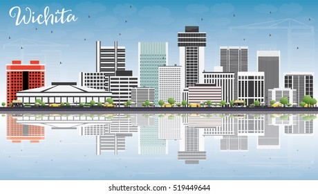 Wichita Skyline with Gray Buildings, Blue Sky and Reflections. Business Travel and Tourism Concept with Modern Architecture. Image for Presentation Banner Placard and Web Site.