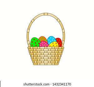 wicker basket with Easter eggs inside on white background