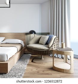 Wicker comfortable chair from rattan in the bedroom loft style. 3D rendering.