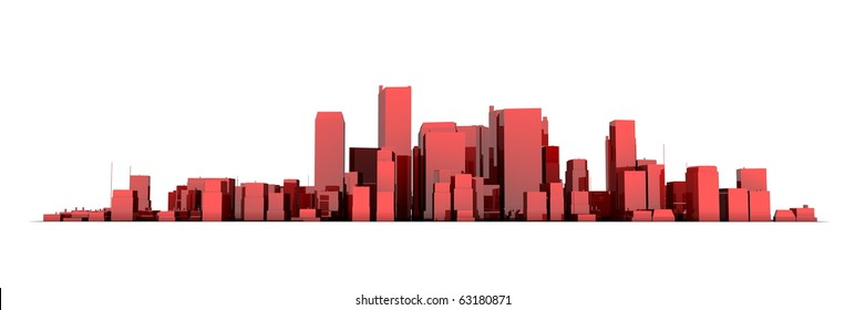 wide 3D cityscape model in shiny red  with a white background - buildings are casting no shadows