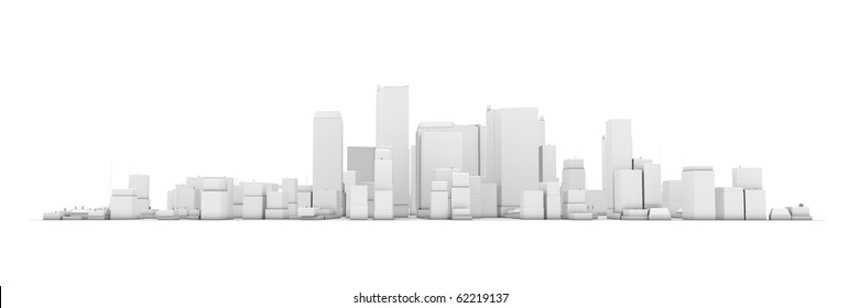wide 3D cityscape model in white with a white background - buildings are casting no shadows
