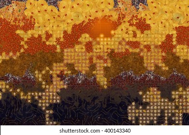 Wide abstract background in Gustav Klimt style