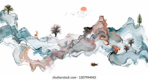 Wide abstract landscape painting artistic ink background
