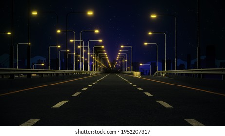 A wide angle view of a 3D rendered lit road leading into city at night.