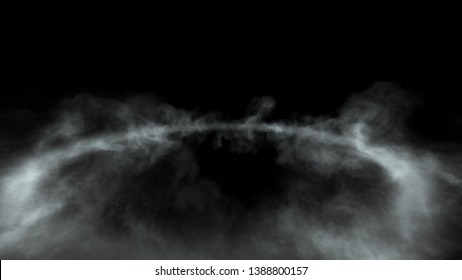 Wide angle view of cloud with empty space in middle, black background 3d render