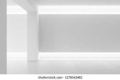 Wide blank white canvas on white brick wall with concrete floor. 3D Rendering