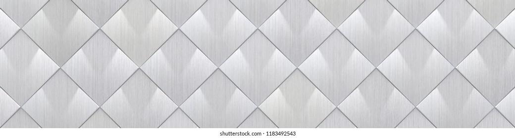 Wide Brushed Metal Tiled Background (Site head) (3d illustration)