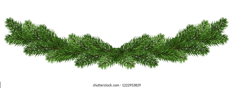 wide Christmas garland of fir branches. isolated on white. fir-tree. panorama. Festive decor.