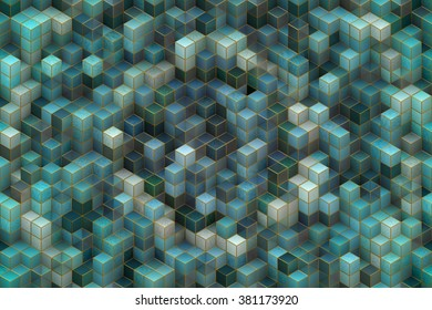 Wide continuous  3D cubic abstract pattern