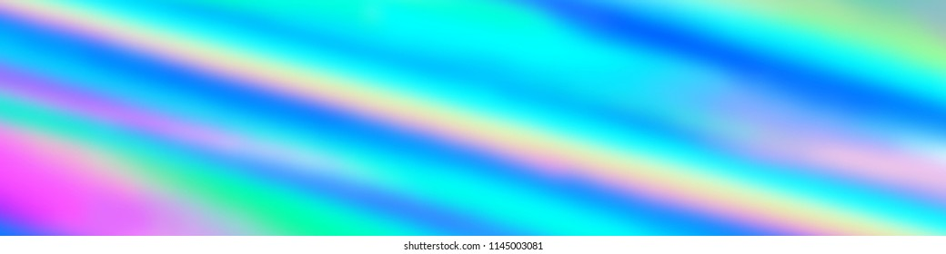 Wide Dynamic Holographic iridescent blurry background. Vivid neon and pastel colors
