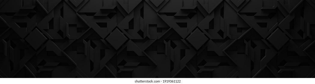 Illustration 3D large, Arrière-Plan Géométrique Noir extra-foncé (En-Tête De Site Web)