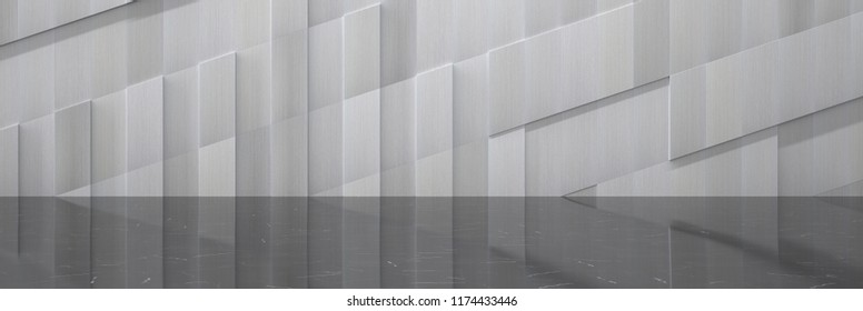 Wide Futuristic Background With Metal Wall and Black Polished Marble Floor (Detail 3D Illustration)