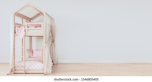 Wide horizontal mock up poster frame with free space on the right side, Bunk bed with clean pink bedding, Scandinavian style, 3D render, 3D illustration