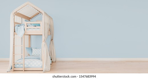 Wide horizontal mock up poster frame with free space on the right side, Bunk bed with baby blue bedding, Scandinavian style, 3D render, 3D illustration