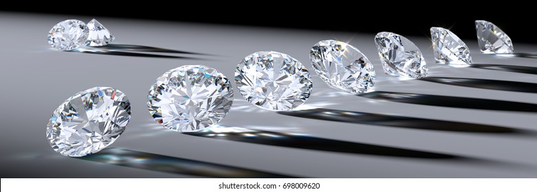 Wide image of seven line-up clear round cut diamonds  laying in a spotlight, with long shadows, bright caustics rays. Close-up view on light gray background. 3D rendering illustration.