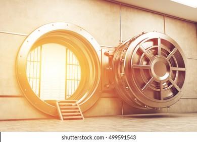 Wide open sunlit vault door of the bank. Sunlight is seen from the inside. Concept of money safe keeping. 3d rendering. Toned image