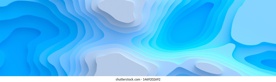 Wide panorama 3D Landscape Paper Cut style, Curved shapes with blue gradients, abstract geometric lines pattern background art illustration for cover design, book, poster, flyer