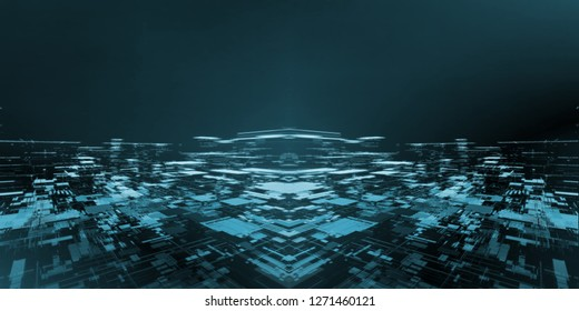 Wide screen of abstract technology city background created from geometric rectangle shapes and dot lines. For hi tech, big data, deep machine learning, crypto currency concept. 3D Rendering.