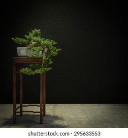 a wide variety of bonsai plants are placed in the flower garden-3D rendering
