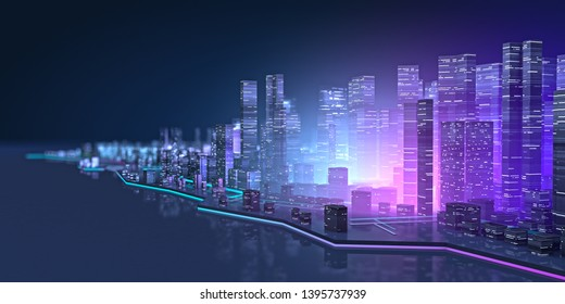 Wide view of the futuristic night neon city. Modern cityscape in neon lights. retrowave and cyberpunk style. 3D illustration.