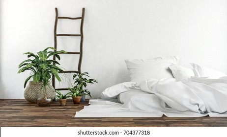 Wide view of green leafy plants and white fabric pillows and brown wooden ladder on top of wood floor and in front of white wall. 3d Rendering.