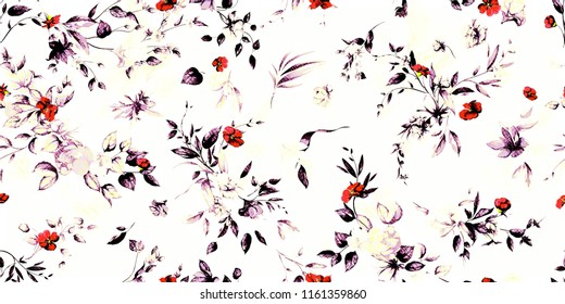 Wide vintage seamless background pattern. Peony, magnolia, wild flowers with leaf on white. Abstract, hand drawn.
