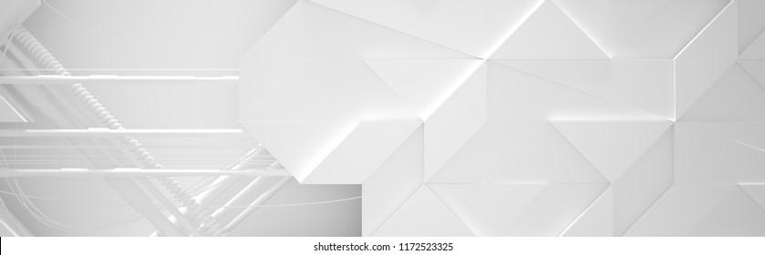 Wide White Futuristic Background (3d illustration)
