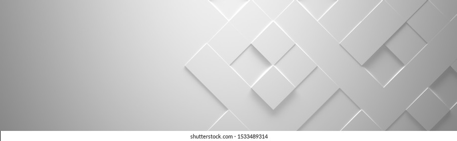 Wide White Geometric Background With Copy Space (Website Head) (3d Illustration)