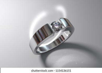 Wide white gold diamond engagement ring, tension style setting,  standing on white background, rear light,  caustics rays. 3D rendering
