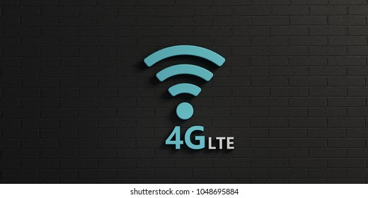 WiFi 4G Symbol in Black Brick Wall. 3D Rendering illustration