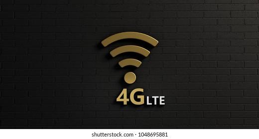 WiFi 4G Symbol in Gold Brick Wall. 3D Rendering illustration