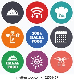 Wifi, mobile payments and drones icons. Halal food icons. 100% natural meal symbols. Chef hat sign. Natural muslims food. Calendar symbol.