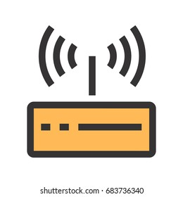Wi-fi router icon. High-tech technology items.