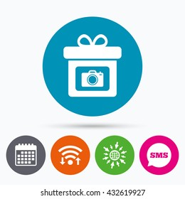 Wifi, Sms and calendar icons. Gift box sign icon. Present with photo camera symbol. Go to web globe.
