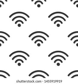 Wi-fi symbol seamless pattern. 3d illustration. Wireless internet access symbol
