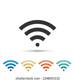 Wi-Fi wireless internet network symbol icon isolated on white background. Set elements in colored icons. Flat design