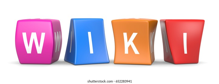 Wiki White Text on Colorful Deformed Funny Cubes 3D Illustration on White Background