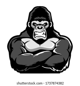 wild angry gorilla with muscular arms, cartoon, illustration