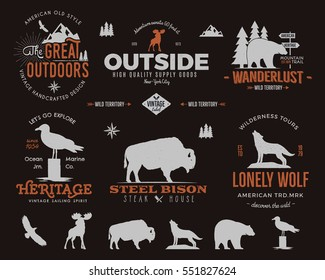 Wild animal badges set and outdoors activity insignias. Retro illustration of animal badges. Typography camping style. Animal badges logos with letterpress effect. Custom explorer quotes.
